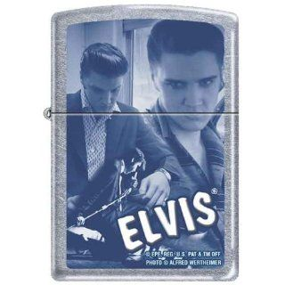 Zippo Custom Lighter   Blue Elvis Presley Collage Music