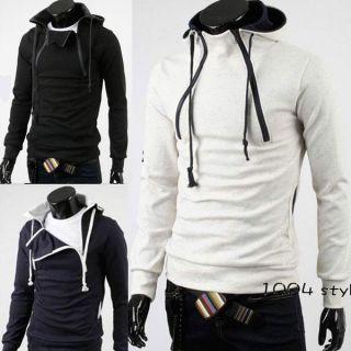 Mens Slim Fit Top Designed Hooded Hoodies Jackets Coats 3Color M L XL