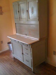 Vintage Antique Hoosier Kitchen Cabinet, Original Finish, Double slide