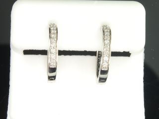 Ladies 10K White Gold Diamond Hoops Huggies Danglers Earrings 0 49 Ct