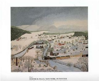 Grandma Moses Print Hoosick Falls New York in Winter