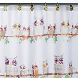 Hoot Owl Kids Shower Curtain Bathroom Bird Cute New