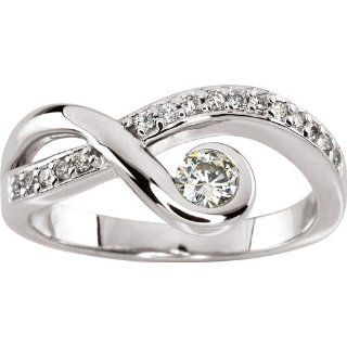 14 karat white gold Moissanite & Diamond Ring Jewelry