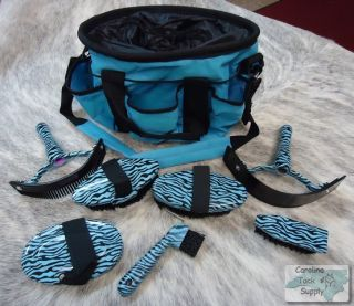BLUE 7 Piece Zebra Print Horse Grooming Kit w/ Nylon Carrying Bag NEW