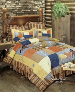 Full Queen Quilt Set Horses Bronco Western Cowboy Comforter