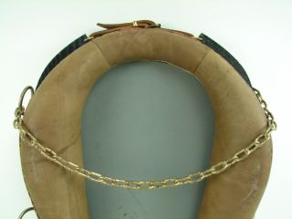 Horse Collar Mirror Brown Leather Black Wood Stand Hanging Chains Vtg