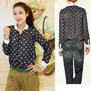Women Vintage Long Sleeve Roll Collar Horse Print Shirt
