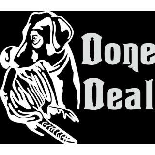 HNT5 (72) 8 white vinyl decal done deal dog with duck