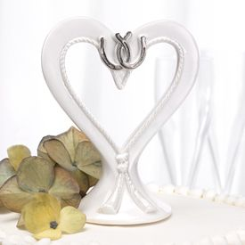 New Silver Toned Linked Horseshoes White Heart Cake Topper Wedding