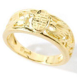24K Gold Phoenix & Dragon Band Ring Jewelry