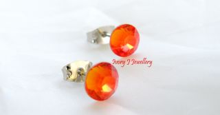 Fire Opal Orange Swarovski Crystal Stud Earrings Hot