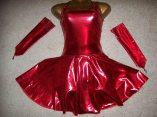 new sexy red foil figure skating dress with arm mitts adult x large