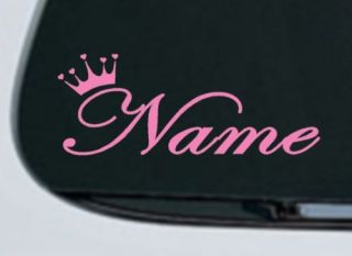 Princess Queen Crown Decal Sticker Pink Custom Name Hot