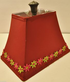 Harp LAMP SHADE Burgundy Fabric Lime Green Hot Pink Flowers FINIAL