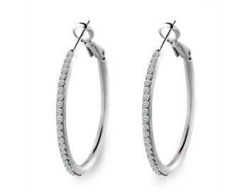 18K White Gold GP Swarovski Crystal Hoop Hot Earrings C73