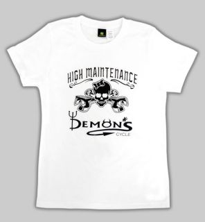 Biker High Manintenance Logo Skull Bones Wrenches T Shirt M