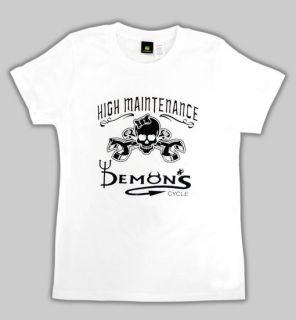 Biker High Manintenance Logo Skull Bones Wrenches T Shirt M
