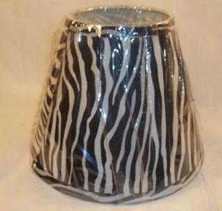 Zebra Print Fabric Lamp Shade Kids Girls Teen Animal Print Black White