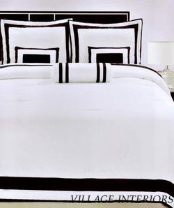 Hotel Collection White Black 6pc Queen Comforter Set