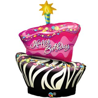 ZEBRA CAKE Birthday Balloon Bouquet Party supplies kit   set Hot Pink