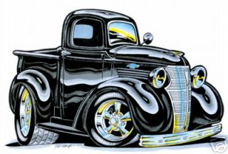 BH33 T Shirt Art Hot Rod 36 37 1938 Chevy Pickup Truck