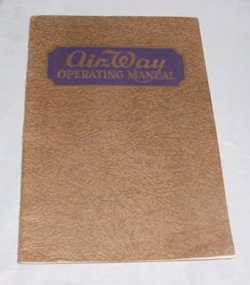 Antique 1931 Air Way Vacume Cleaner Operating Manual