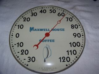 Vintage 1940s Maxwell House Coffee Thermometer Sign Works Very Neat No