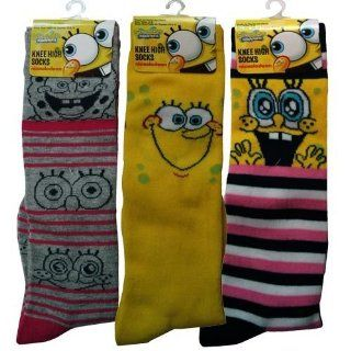 3pk Spongebob Squarepants Girls Knee High Socks Size 6 8