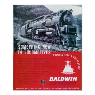 Baldwin Locomotive Works Steam Turbine Locomotive. Posters