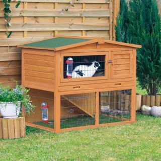 Nesting Hutch Rabbit Guinea Pigs Pen Small Animal Cage Outdoor Wood