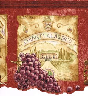 Red Tuscan Tuscany Grape Vineyard Wine Label Sign Kitchen Wallpaper