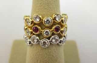 Ruby and Diamond Two Yellow Gold One White Gold Round