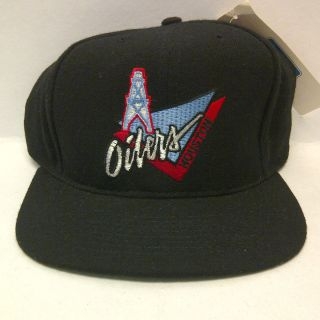 Houston Oilers Black Wool Flat Bill Snapback Hat