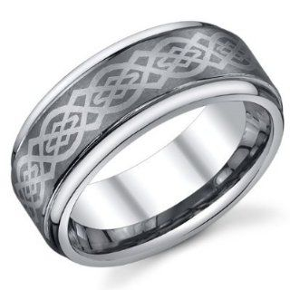 9mm Mens Tungsten Carbide Ring Wedding Band with Laser Engraved