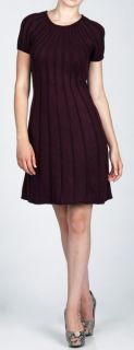 New Jessica Howard Womens Pintuck Sweater Dress Eggplant Purple Large