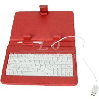 USB White Keyboard Leather Case Stand Cover +Stylus for 7 Tablet PC