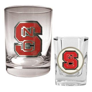 N. C. State Wolf Pack Rocks Glass & Shot Glass Set