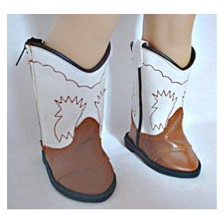 Doll Clothing White & Brown Cowgirl Boots. These Cowgirl