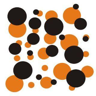 set of 106 Orange and Black polka dots Vinyl wall