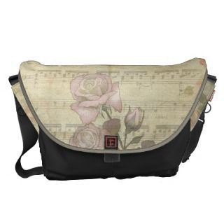 Vintage Romantic pink rose and music score Commuter Bags