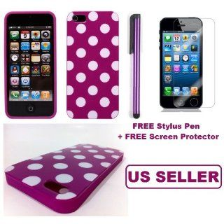 KINGS  Purple Polka Dot Soft Gel Skin Case Cover Iphone 5
