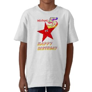 Red Smiley Star 5th Birthday Shirt