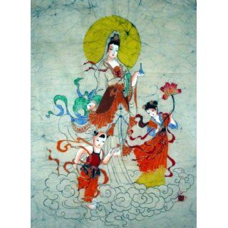 Chinese Art Batik Tapestry Wall Decor Guanyin Buddha