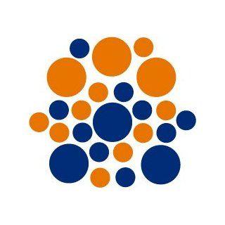Set of 30   Blue / Nut Brown Circles Polka Dots Vinyl Wall