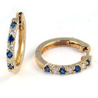 1/2 Carat Prong Set Sapphire & Diamond Hoop Earrings in