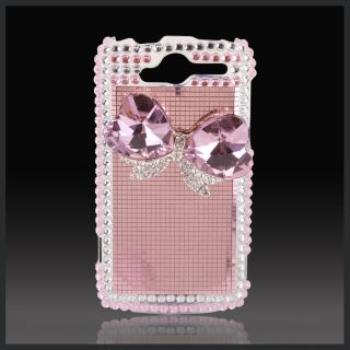 HTC myTouch 4G Bling Diamonds Pink Heart Jeweled Bow on Mirror Case