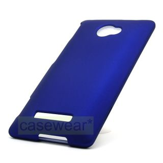 Blue Rubberized Hard Cover Case for HTC 8x Windows Phone T Mobile