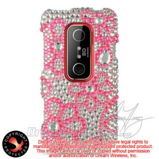 3D EVO V Hard Case Snap on Silver Phone Cover Pink Flower Lace Bling