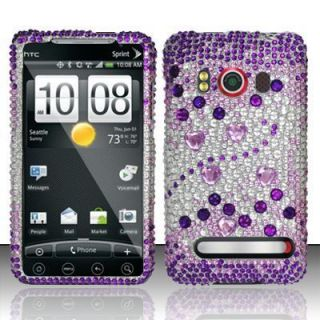 EVO 4G Sprint Hard Case Snap on Silver Phone Cover Purple Beats Bling
