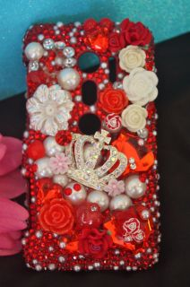 HTC EVO 3D RED CRYSTAL RHINESTONE JUICY CUTE BLING DECO PHONE CASE